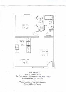 HZ Apartments One Bedroom Floor Plan